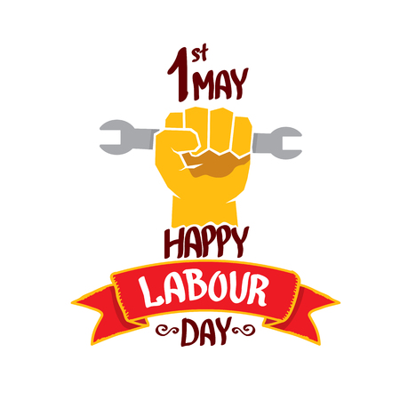 work worker workforce world: 1 may - labour day. vector happy labour day poster or workers day banner