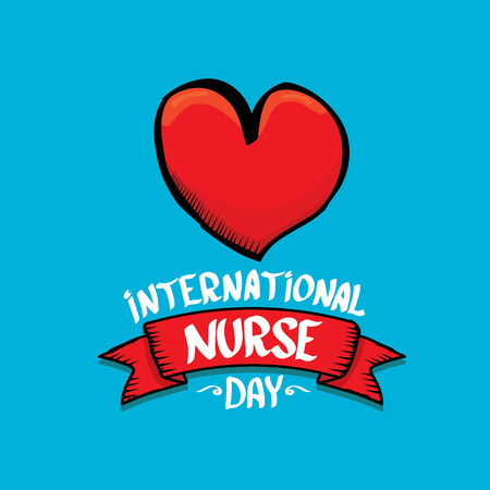 physical exam: International nurse day vector greeting card or background