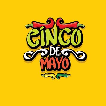Cinco de Mayo传染媒介概念。墨西哥假日矢量。Cinco de Mayo书法贺卡在橙色背景