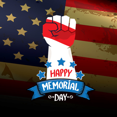 clenched fist: Happy Memorial Day vector background. USA Memorial day greeting card with clenched fist Illustration