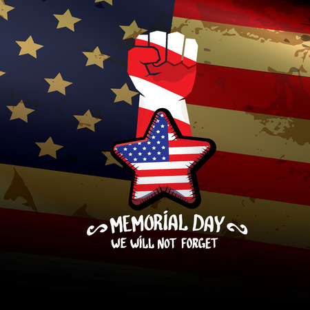 clenched: Happy Memorial Day vector background. USA Memorial day greeting card with clenched fist Illustration