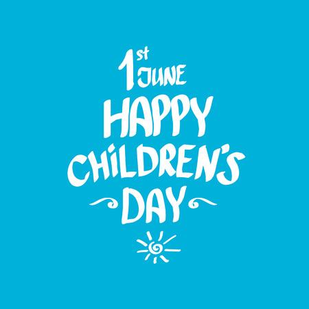 1. Juni internationale Kindertageshintergrund. glückliche Kinder Tag Grußkarte. Kinder Tagesplakat Standard-Bild - 57077311