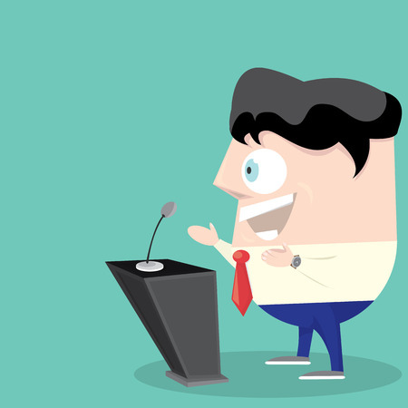 orator: Speaker icon. Orator speaking from tribune illustration. Cartoon style design - vector.