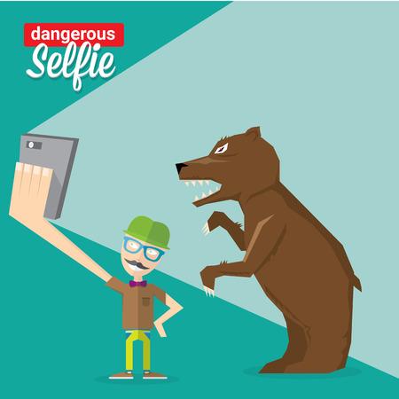 dangerous man: Dangerous selfie concept illustration. Man and bear Taking a selfie Photo Together on smartphone Illustration