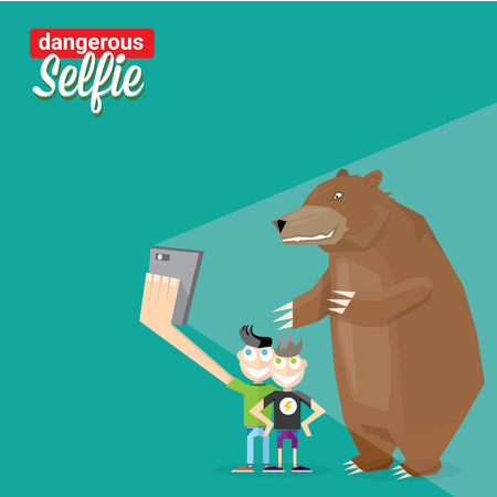 dangerous man: Dangerous selfie concept illustration. Man and bear Taking a selfie Photo Together on smartphone Illustration