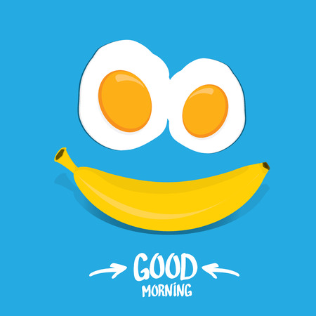 laying egg: vector good morning funny concept vector background. Good morning smile made from banana and fried egg Illustration