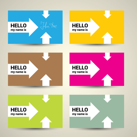 Hello My Name Is. Name Tag Set. Vector Business card set  イラスト・ベクター素材
