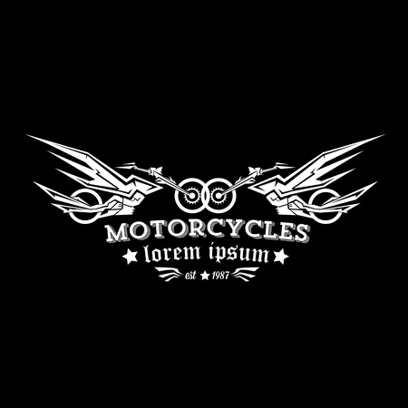old school bike: vector vintage motorcycle label or badge, design element. abstract motorcycle with wings Illustration