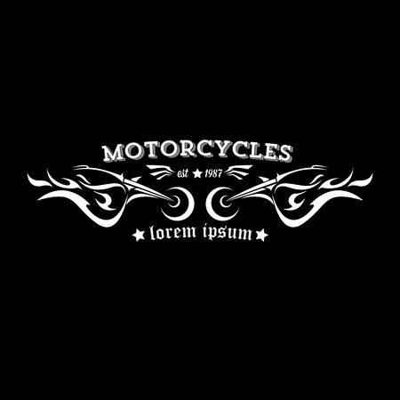 motor race: vector vintage motorcycle label or badge, design element. abstract motorcycle with wings Stock Illustratie