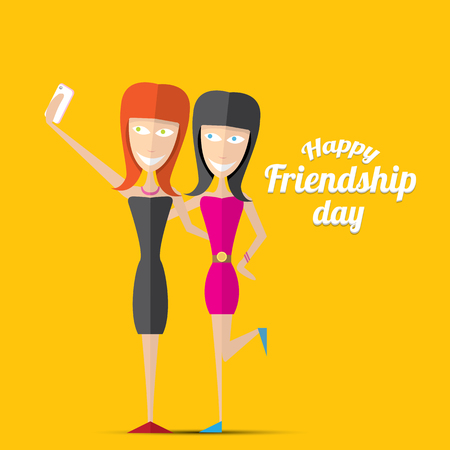 friends having fun: Happy friendship day vector background. Best Friends forever concept vector illustration