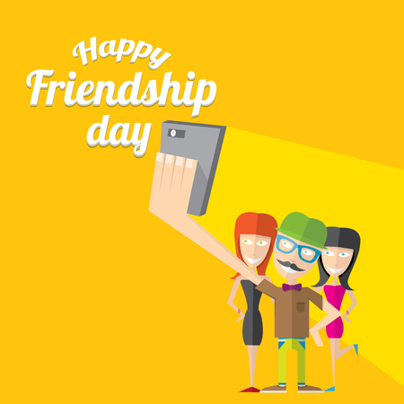 girls having fun: Happy friendship day vector background. Best Friends forever concept vector illustration
