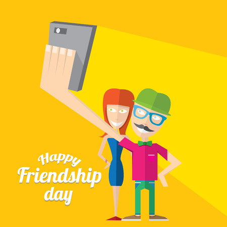 couple having fun: Happy friendship day vector background. Best Friends forever concept vector illustration