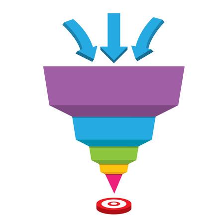 Vector plantilla de diseño infografía o en la web. embudo de ventas vector Ilustración de vector