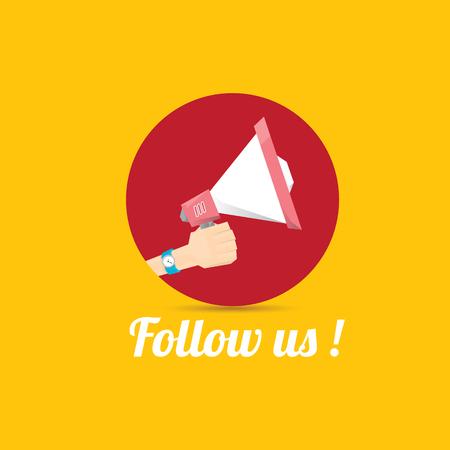 Seguici vector banner arancione. Seguici su media online di social networking. Seguici concetto di illustrazione per il web. Vettoriali