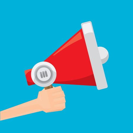 messege: hand holding megaphone. Promotion and advertising flat style banner. vector Digital marketing. cartoon Business concept. Illustration