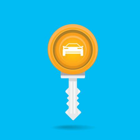 car rent: vector car keys isolated on blue. car rent concept vector illustration. vector key flat icon