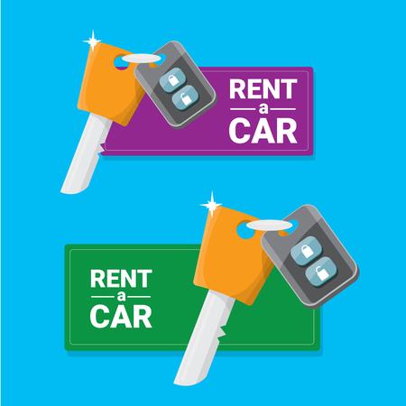 car rent: vector car keys isolated on blue. car rent concept vector banner. vector key flat icon