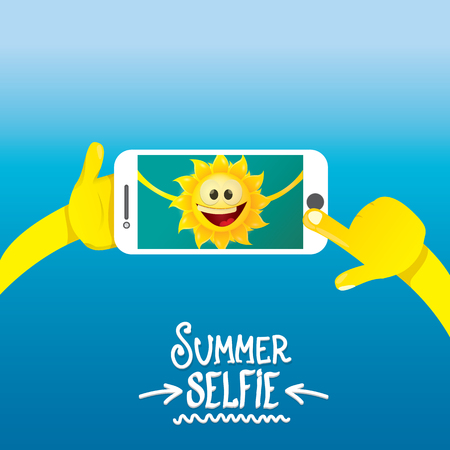 rockstar: Summer selfie vector concept background. smiling Sun taking a selfie on phone. Summer fun vector banner with sun