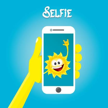 summer fun: Summer selfie vector concept background. smiling Sun taking a selfie on phone. Summer fun vector banner with sun