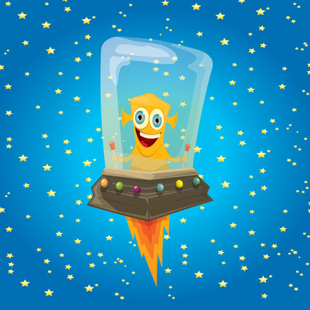space antenna: alien spaceship . ufo. orange alien in space vector. flying saucer. Kids vector background Illustration