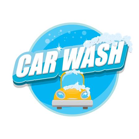 Vektor-Autowäsche-Symbole gesetzt isoliert auf weiß. Vektor Auto waschen Aufklebersammlung. Vektor-Autowäsche-Logo-Vorlage. Waschen Auto Etikett