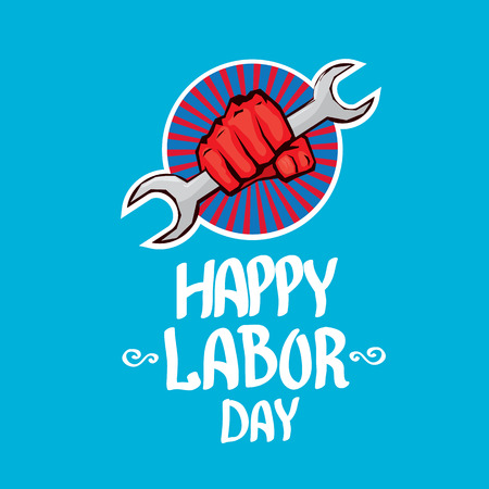 workforce: Usa labor day vector background. vector happy labor day poster or banner with clenched fist.