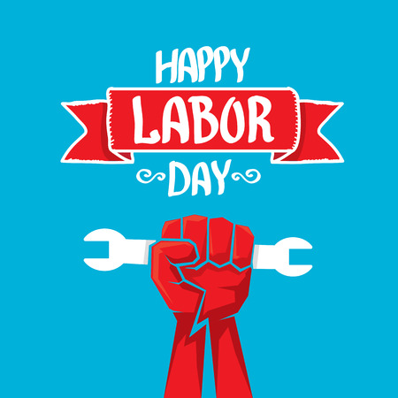 clenched: Usa labor day vector background. vector happy labor day poster or banner with clenched fist.