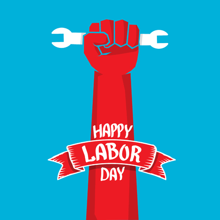 work worker workforce world: Usa labor day vector background. vector happy labor day poster or banner with clenched fist.