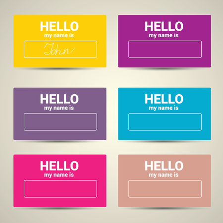 meet and greet: Hello My Name Is. Name Tag Set. Vector Business card set Illustration