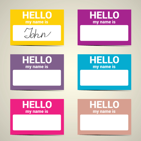 affiliation: Hello My Name Is. Name Tag Set. Vector Business card set Illustration