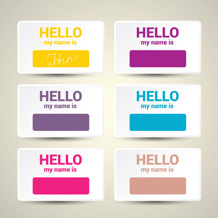 hello my name is: Hello My Name Is. Name Tag Set. Vector Business card set Illustration