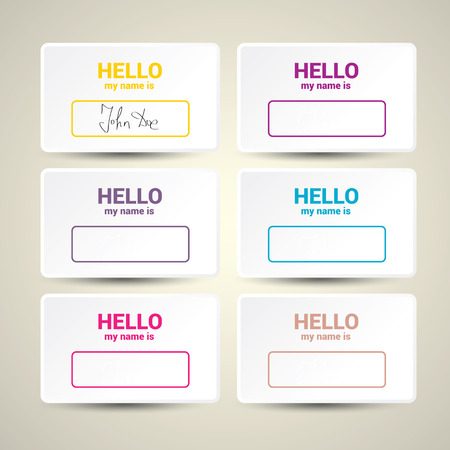 speed dating: Hello My Name Is. Name Tag Set. Vector Business card set Illustration