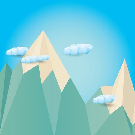 vector flat Mountain landscape web banner illustration