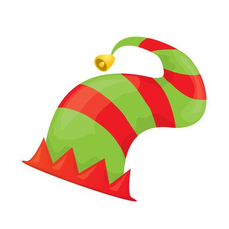 elf hat: cartoon green christmas elf hat. vector illustration