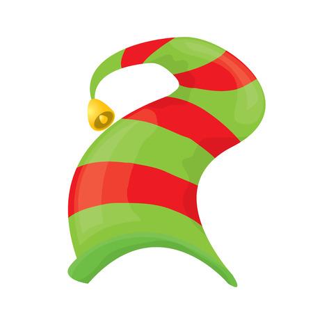 helper: cartoon green christmas elf hat. vector illustration