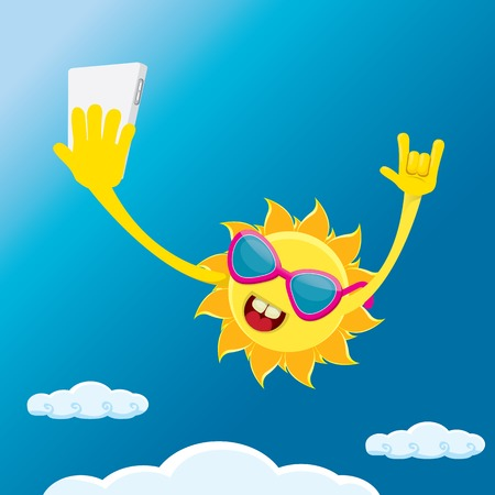 spring roll: Summer selfie vector concept background. smiling Sun taking a selfie on phone. Summer fun vector banner with sun