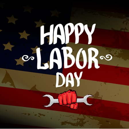 american revolution: Usa labor day vector background. vector happy labor day poster or banner with clenched fist.