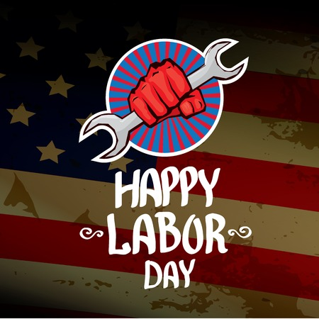 clenched fist: Usa labor day vector background. vector happy labor day poster or banner with clenched fist.