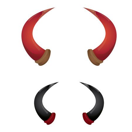 vector Red and black devil, demon, satan horns isolated on white. Halloween evil horns