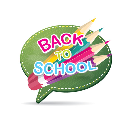 speech bubble vector: Back to school label on green speech bubble vector background. back to school vector concept icon illustration.