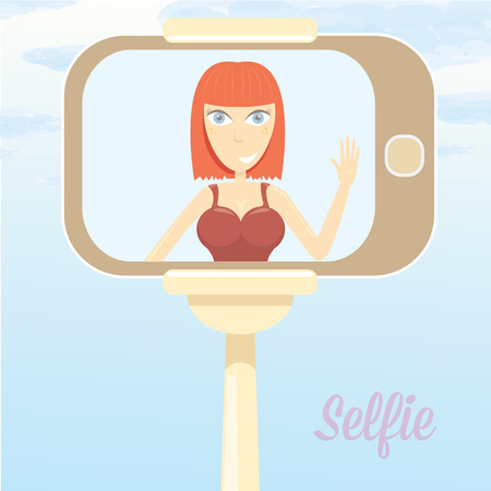 Taking Selfie Photo on Smart Phone concept icon. selfie cartoon people vector illustration. vector selfie stick with young happy beauty girl Illustration