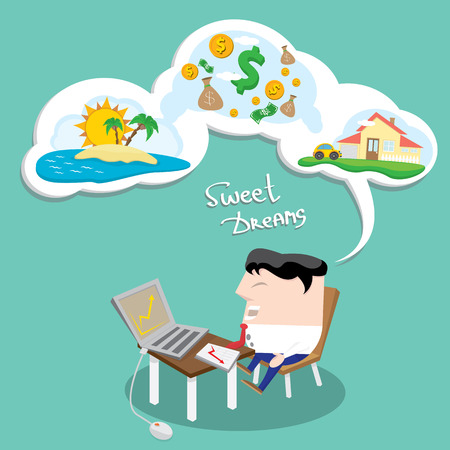 sleeping bags: Business man dreaming. Concept of big dreams about money, house and travel. sweet dreams cartoon illustration
