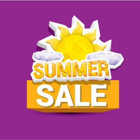deduction: vector summer sale label or sticker. summer clearance. Illustration