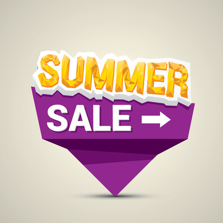 cost reduction: vector summer sale label or sticker. summer clearance. Illustration