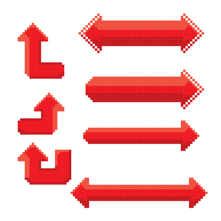 bunner: red pixel style arrow sign or button for web design
