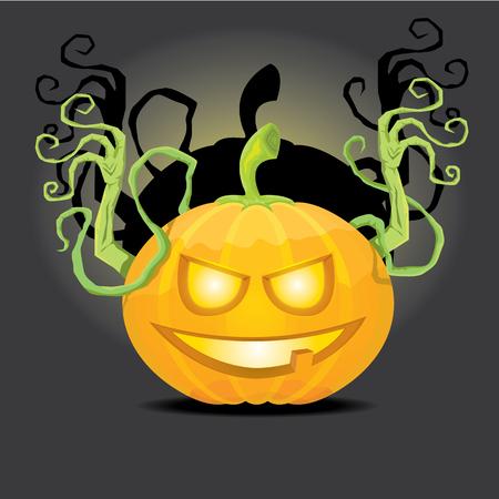 pumpkin patch: Smiling Halloween Pumpkin background. Scary Jack. Vector halloween party illustration