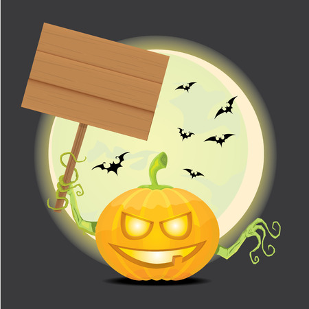 Smiling Halloween Pumpkin background. Scary Jack. Vector halloween party illustration