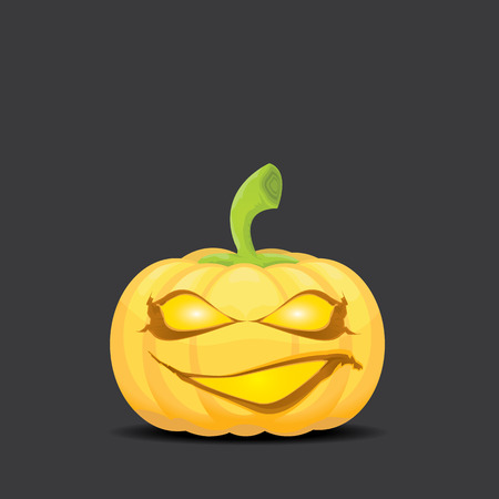 pumpkin patch: Smiling Halloween Pumpkin background. Scary Jack. Vector halloween party illustration