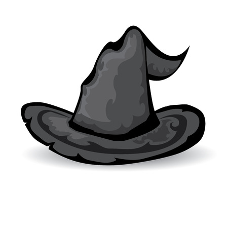tall hat: illustration of tall witch hat isolated on white . vector witch hat. Illustration