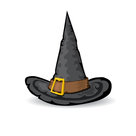 illustration of tall witch hat isolated on white . vector witch hat. Illustration